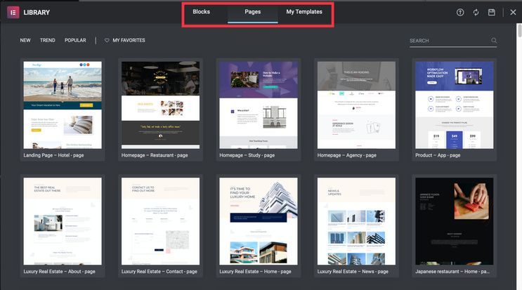 Elementor Page Builder Free Templates